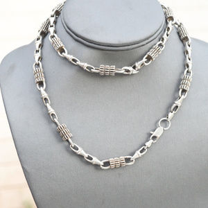 Accessories - Big Heavy Silver Long Necklace pewter Chain Rocker